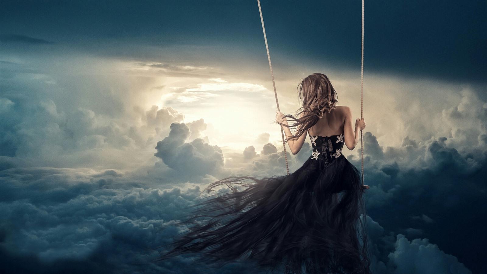 Девушка на небе картинки
