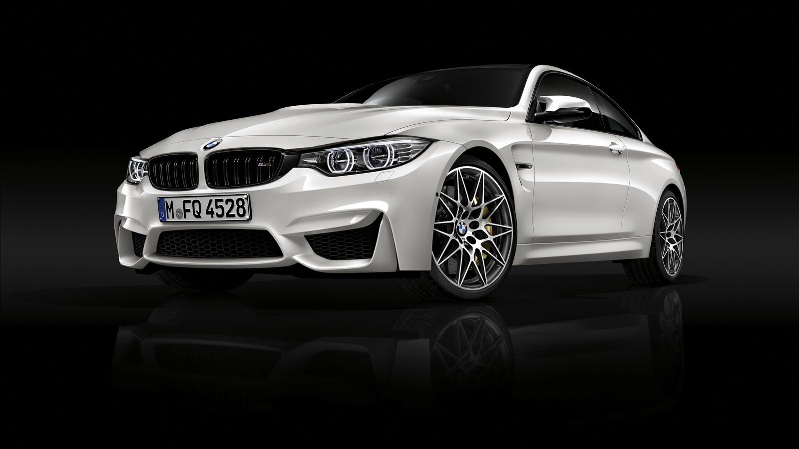 Wallpaper BMW M4 white car front view, black background ...