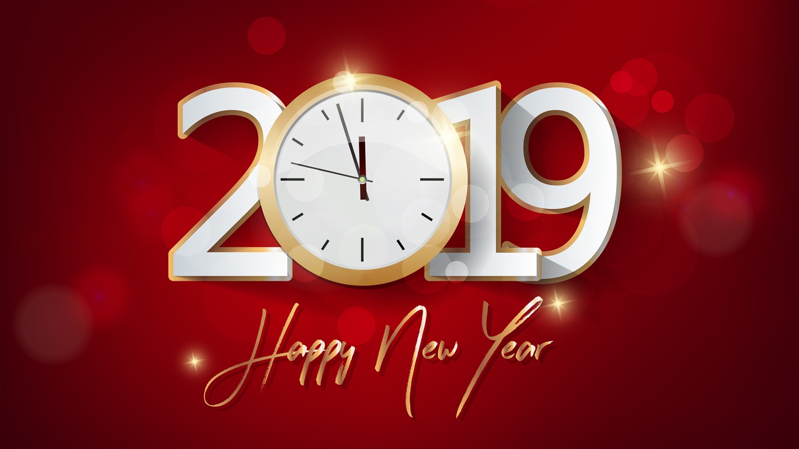 Wallpaper Happy New Year 2019, clock, red background ...