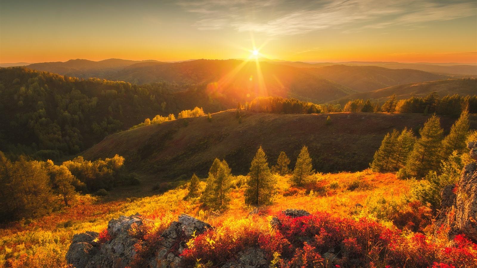 Wallpaper Mountains Trees Sun Rays Glare Sunrise Nature