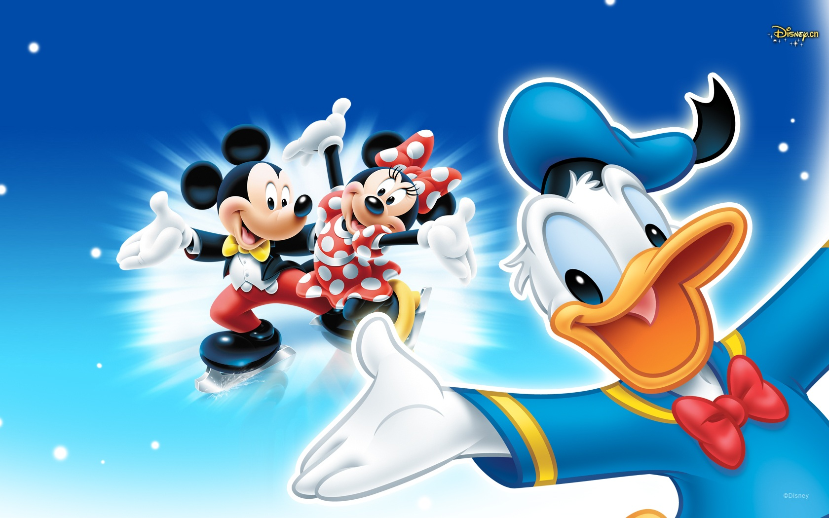 ミッキーマウス・ミニーマウスと一緒のドナルドダック高画質壁紙です。