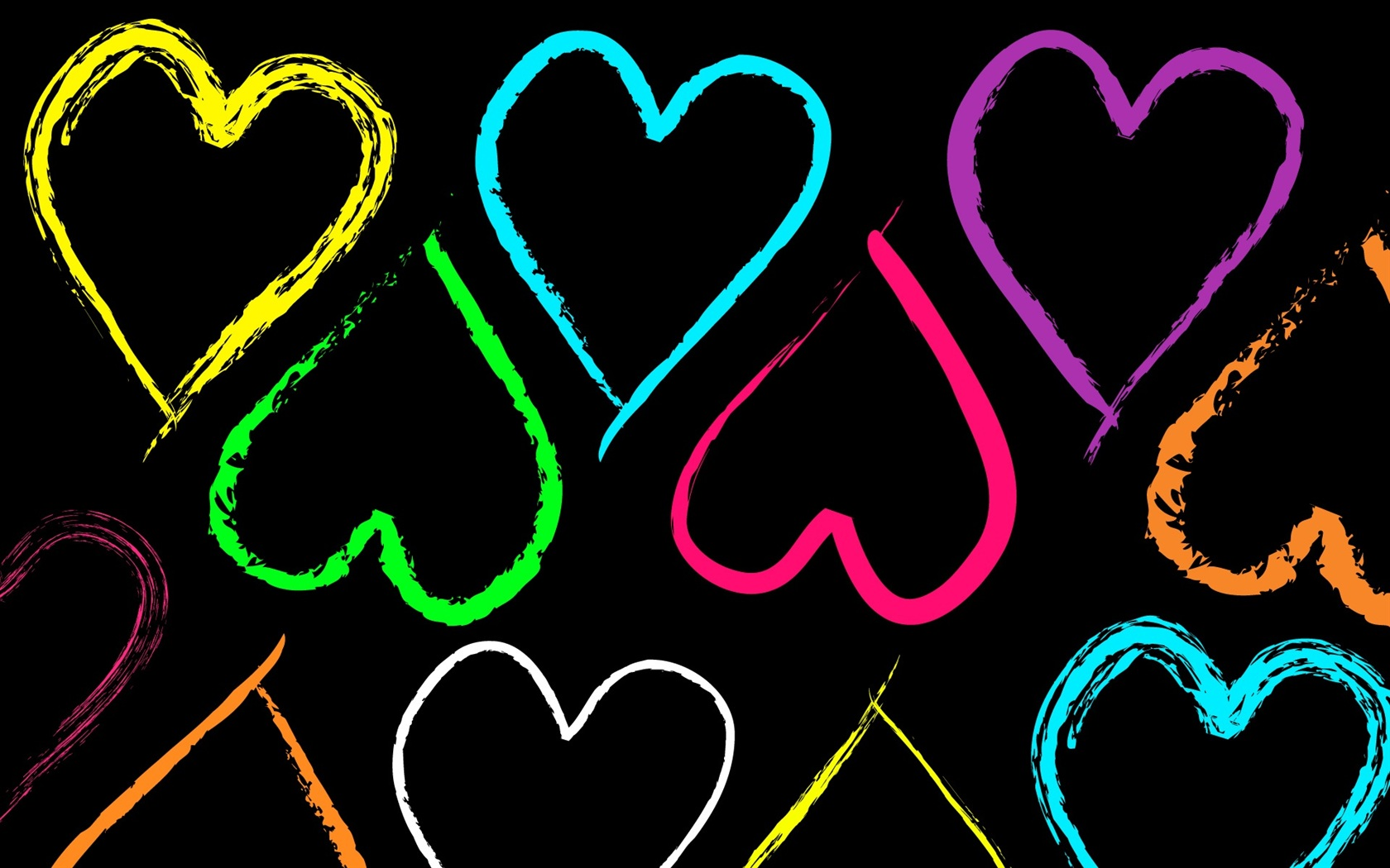 Colorful hearts and shapes wallpaper | Wallpaper Wide HD