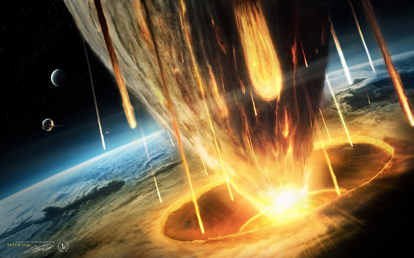 Download Wallpaper 1680x1050 Earth asteroid doomsday HD ...