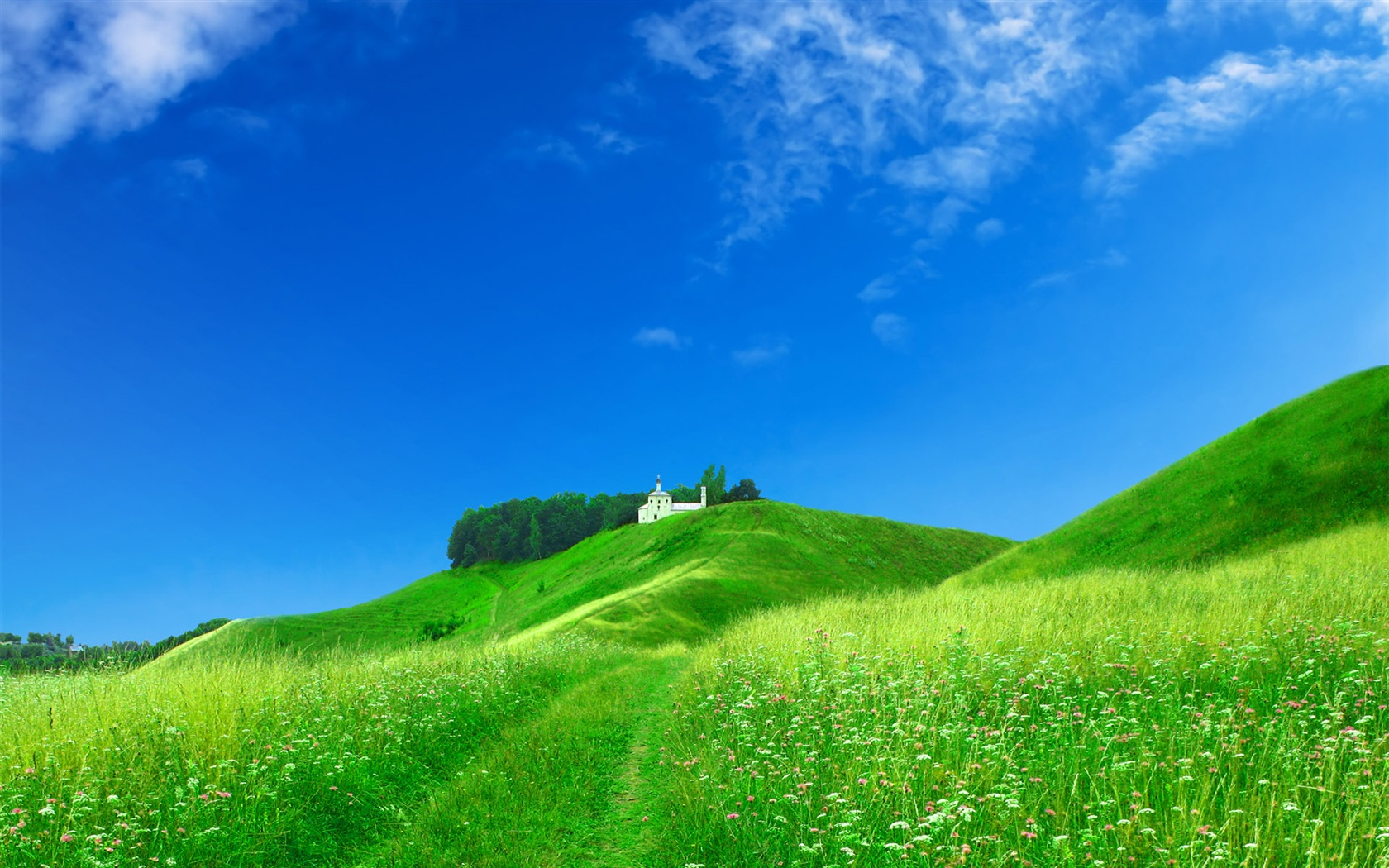 Dream home on the green hillside wallpaper - 1680x1050