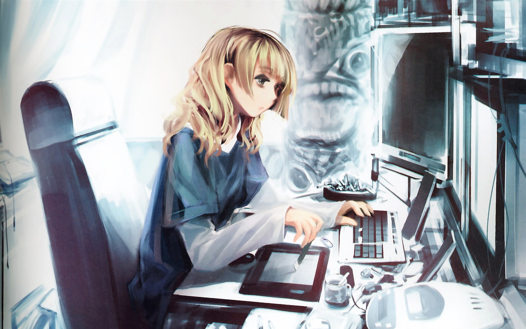 Download Wallpaper 1680x1050 Anime girl with computer HD ...