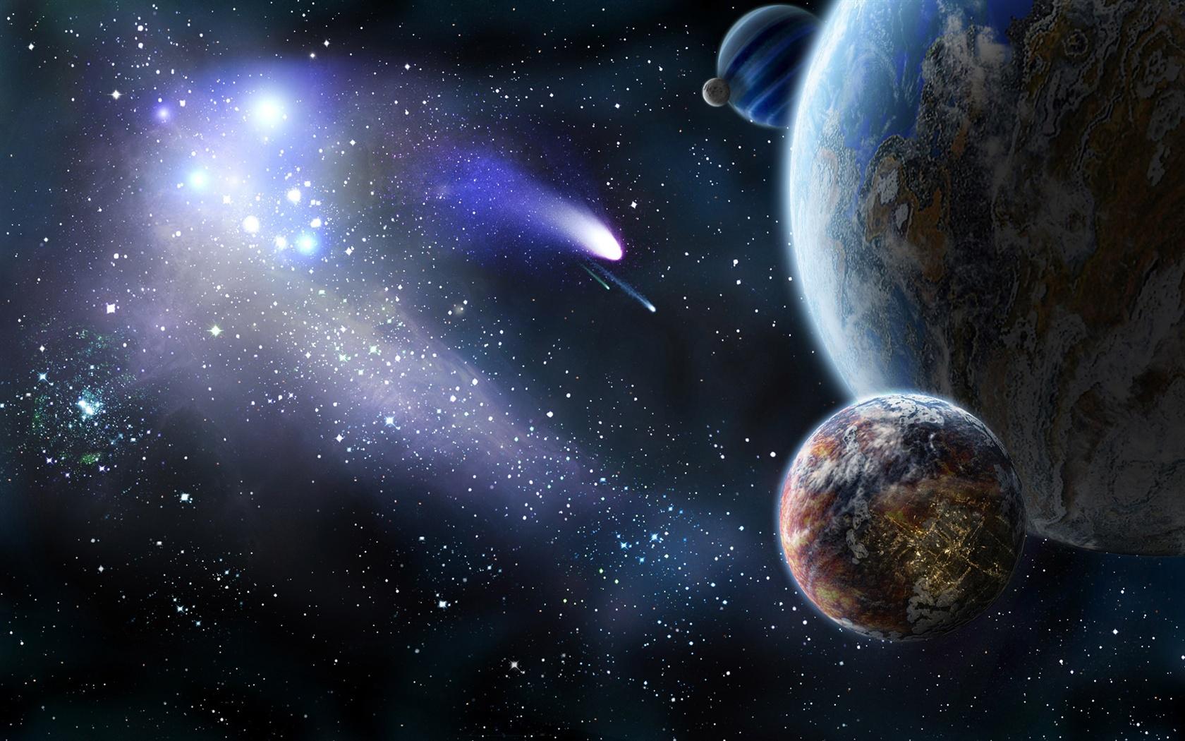 Fonds d'écran Planète et la comète dans l'espace 1920x1200 HD image