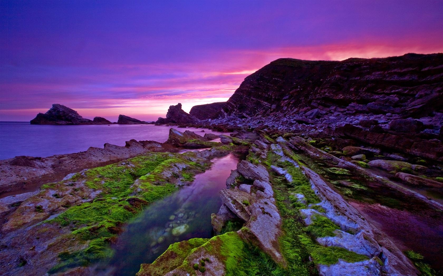 Wallpaper Beautiful Purple Sunset Coast 1920x1200 Hd Picture Image