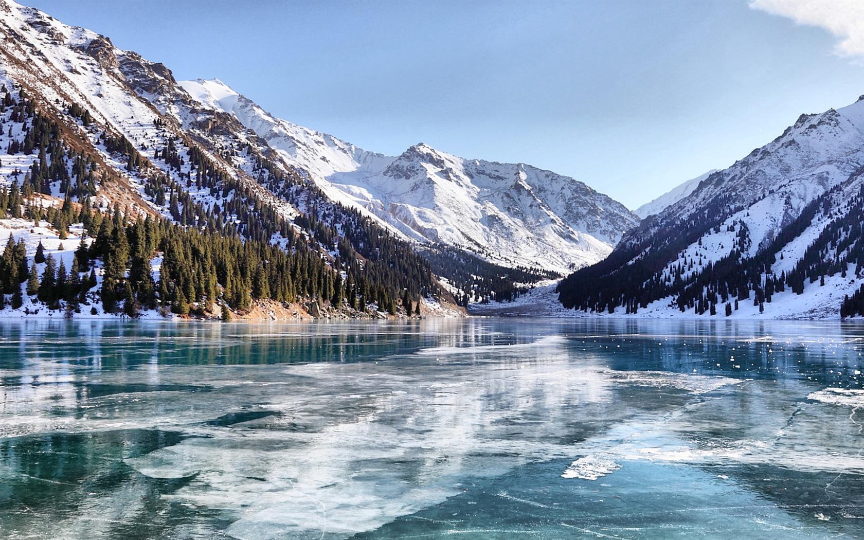 Almaty winter lake Wallpaper   1680x1050 resolution ...