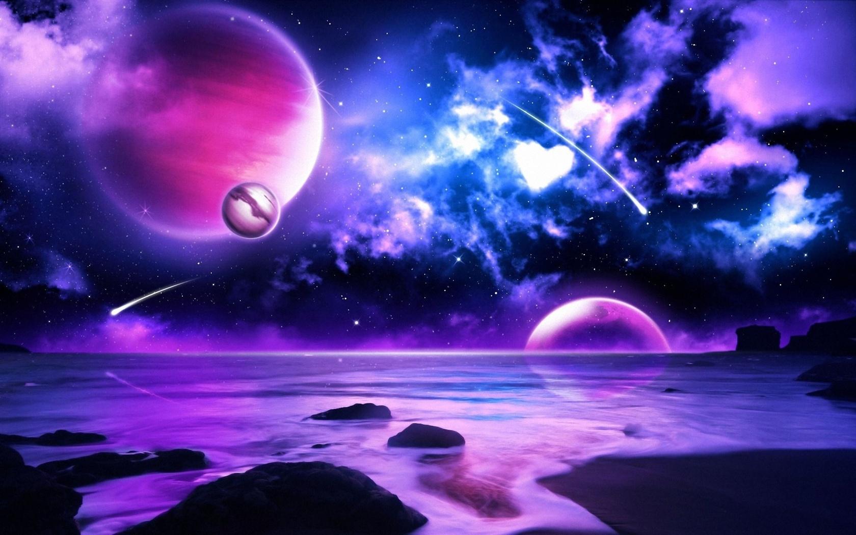 Lila Meteore Planeten ...