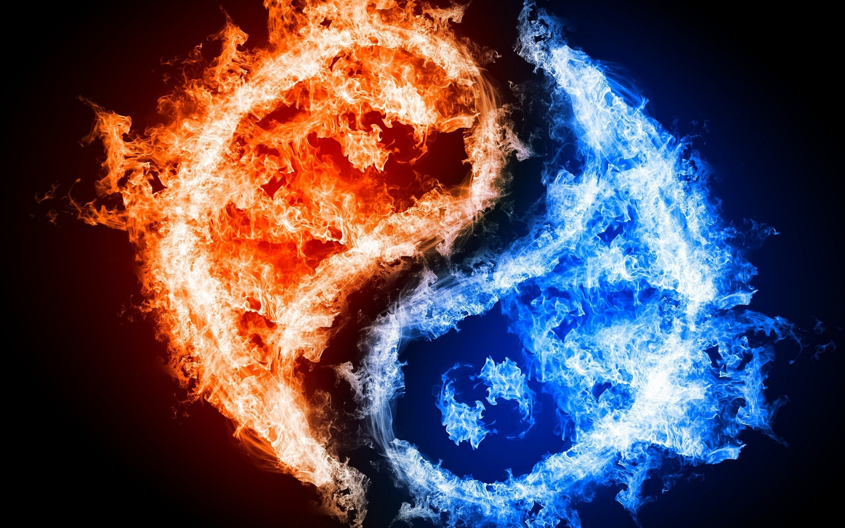 Tai Chi graphic blue and red flames wallpaper - 1680x1050