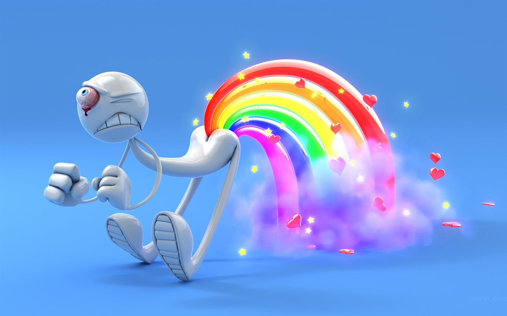 3D one-eyed man rainbow wallpaper - 1680x1050