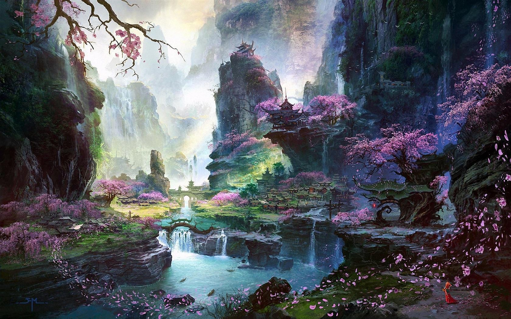 1680x1050 Hd Wallpaper Fantastic World Painting Oriental Spring Landscapes