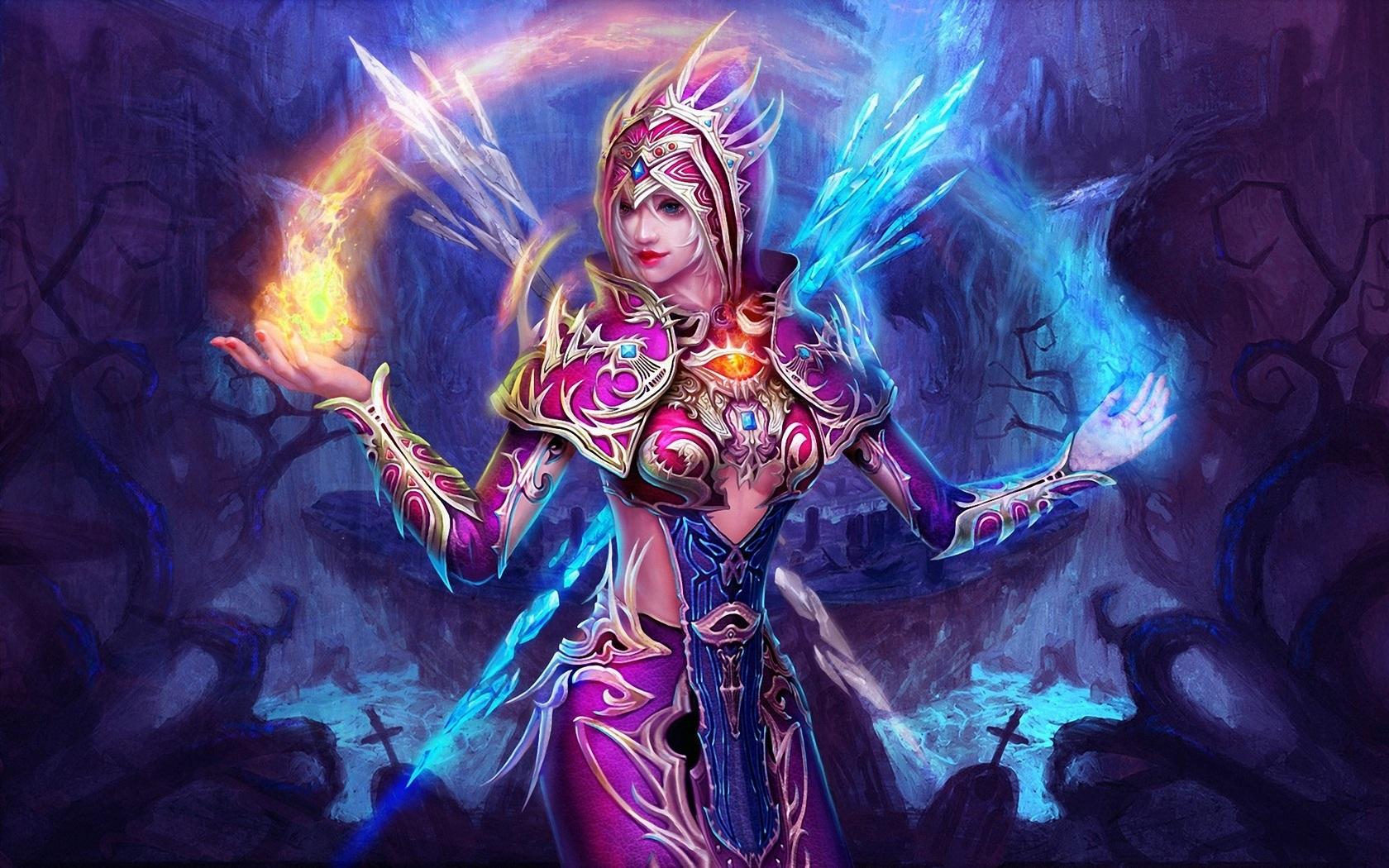 fantasy girl violet la magie de glace et le feu fonds d u0026 39 u00e9cran