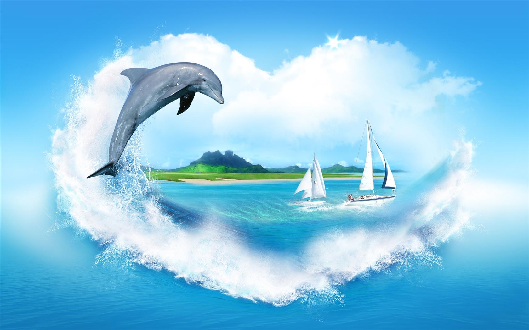 创意图片,心形云,大海,帆船,海豚 壁纸图片