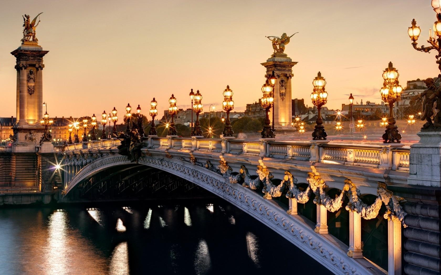 France Paris Pont Alexandre Iii Seine River City Lights