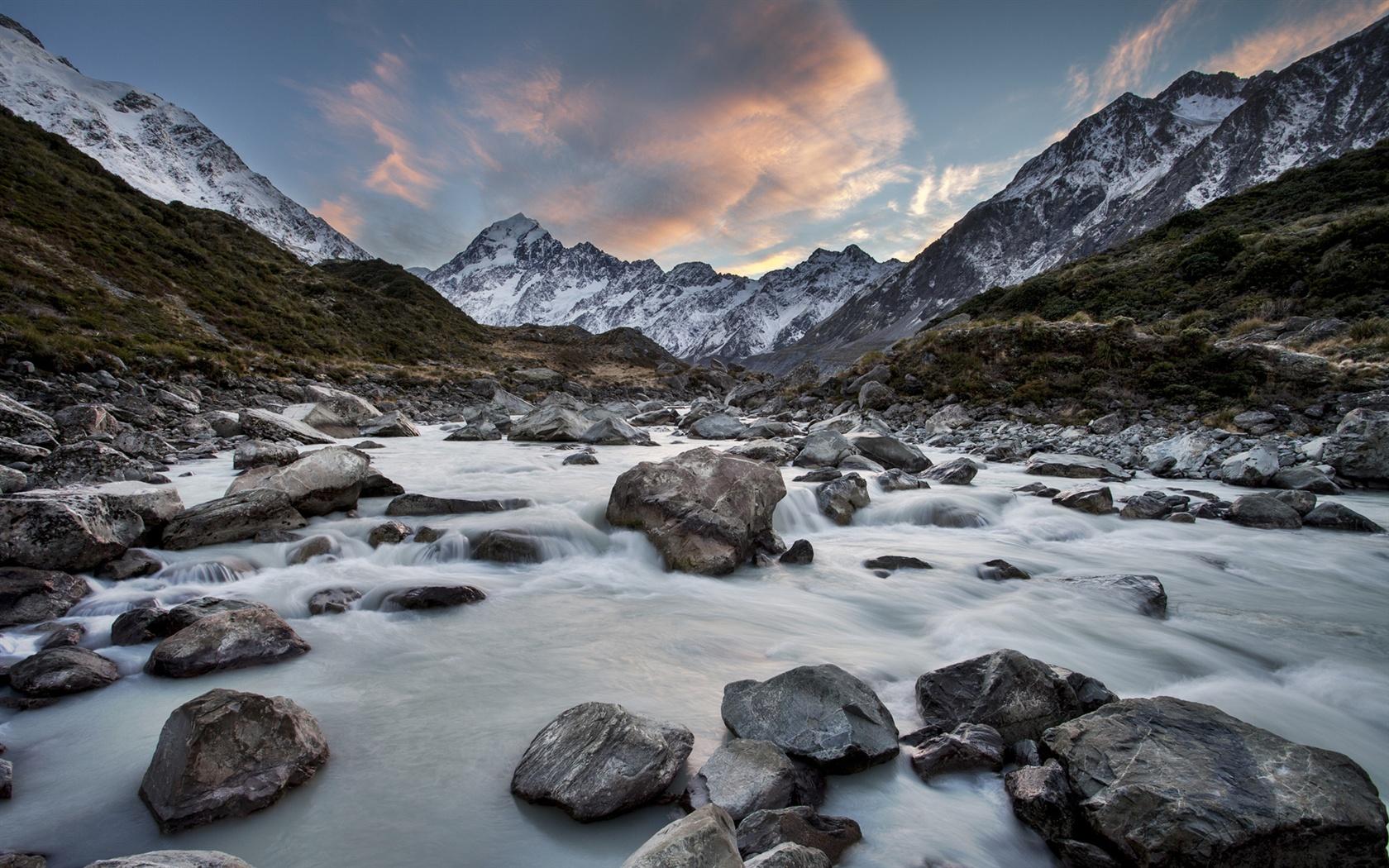 Pelaku Penembakan New Zealand Wallpaper: Fonds D'écran Hooker River, Parc National De Mount Cook