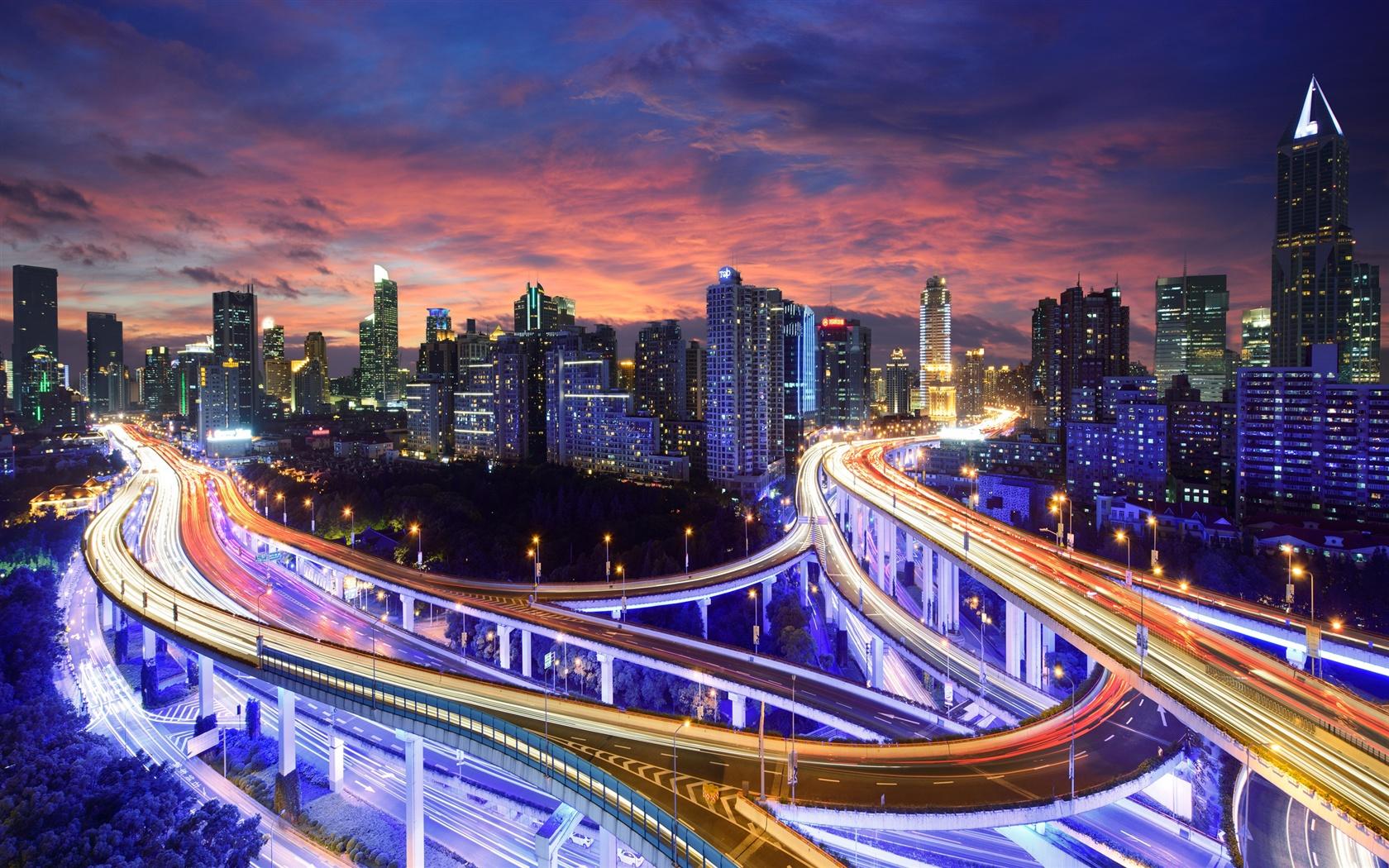 hong kong china city night lights highway skyscrapers