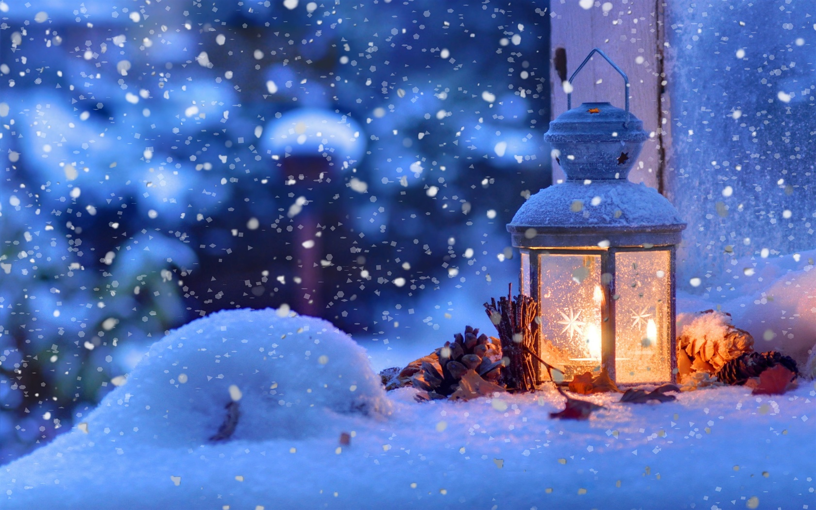1680x1050 HD Wallpaper Christmas snow winter, light, snowflakes