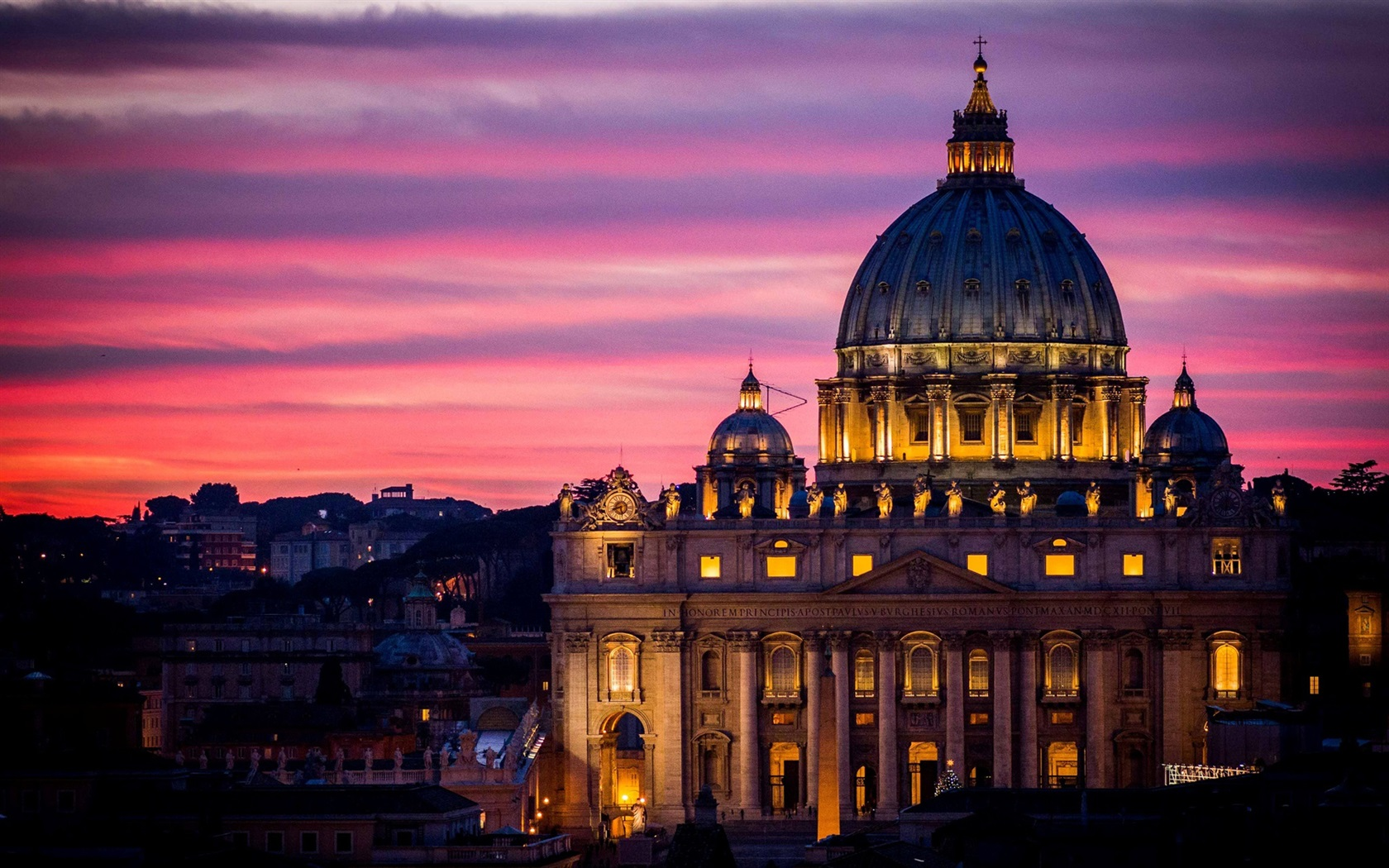罗马,意大利,教堂,建筑,城市,夜晚,天空 壁纸 - 1680x1050图片