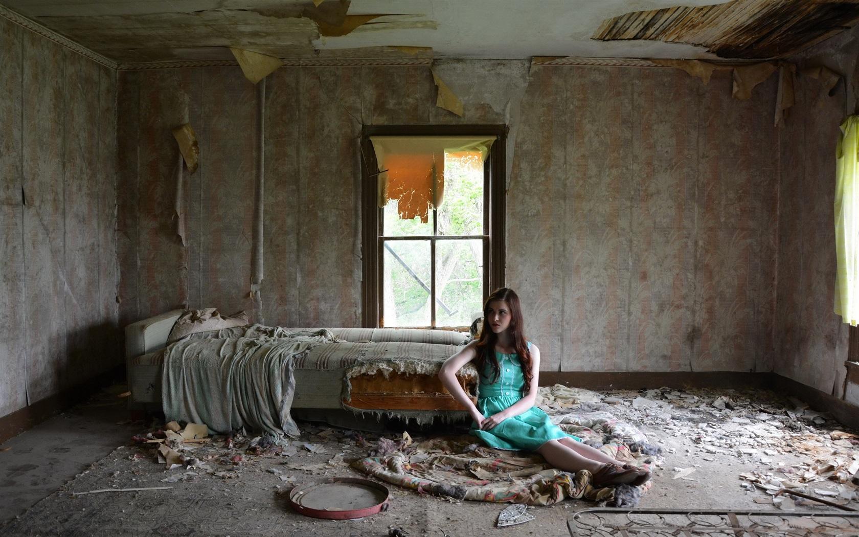 Broken room interior blue dress girl wallpaper for Best room wallpaper