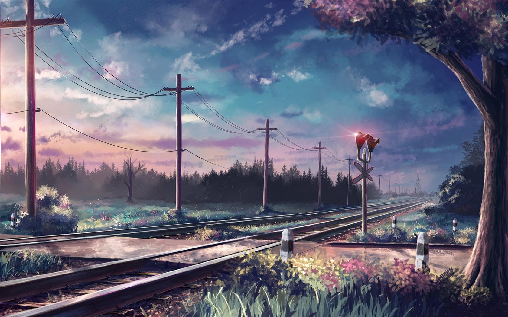 下载1680x1050 艺术画,树木,护栏,电线杆,铁路 桌布, 图片图片