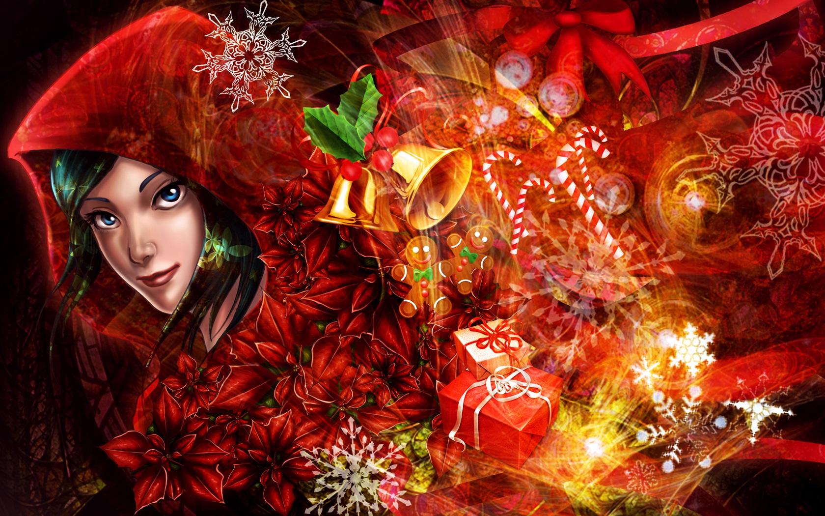 アート写真、女の子、メリークリスマス ...