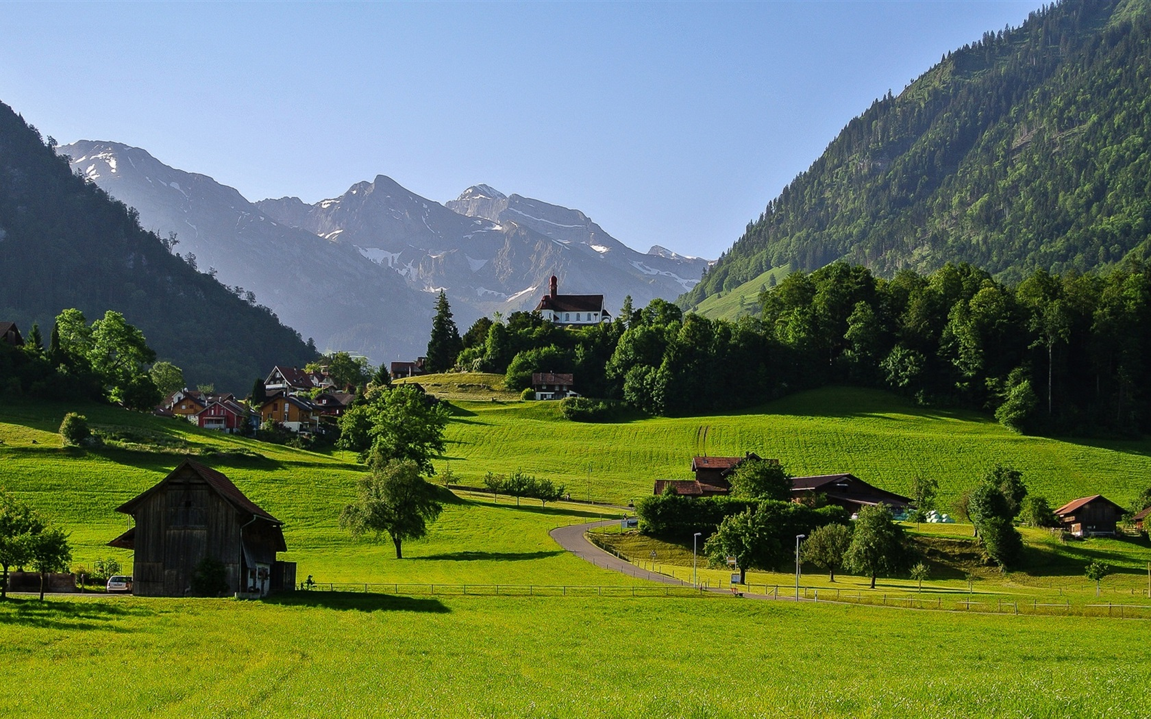 fonds d 39 cran t l charger 1680x1050 suisse montagnes alpes la vall e de l 39 herbe de la route. Black Bedroom Furniture Sets. Home Design Ideas