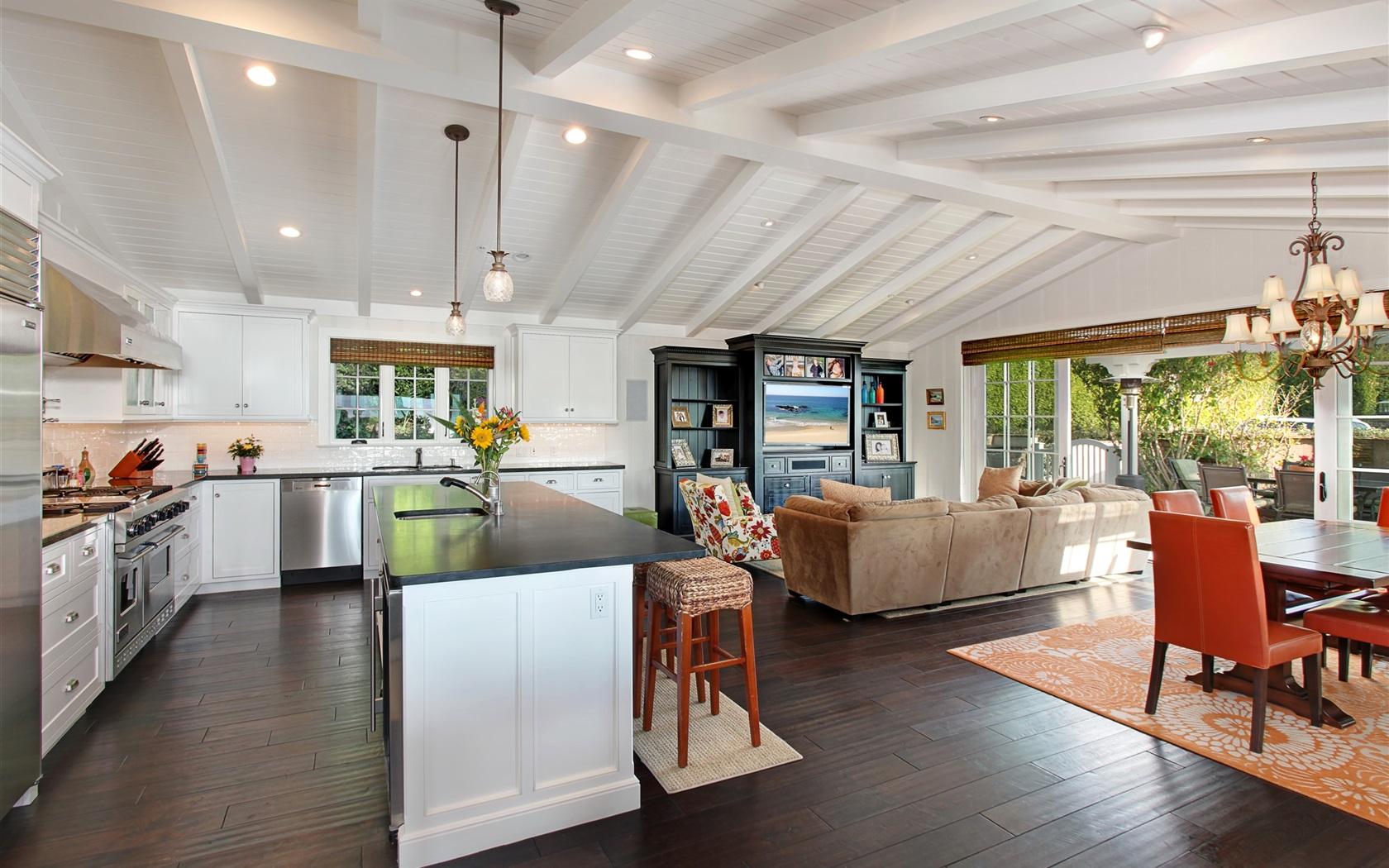 Design de interiores sala de estar cozinha lustre Papéis de Parede  #965C35 1680 1050