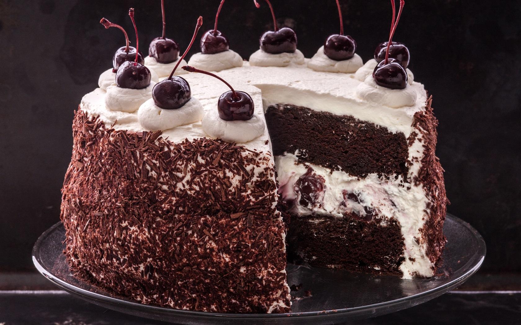 黑森林蛋糕,巧克力,樱桃 壁纸图片
