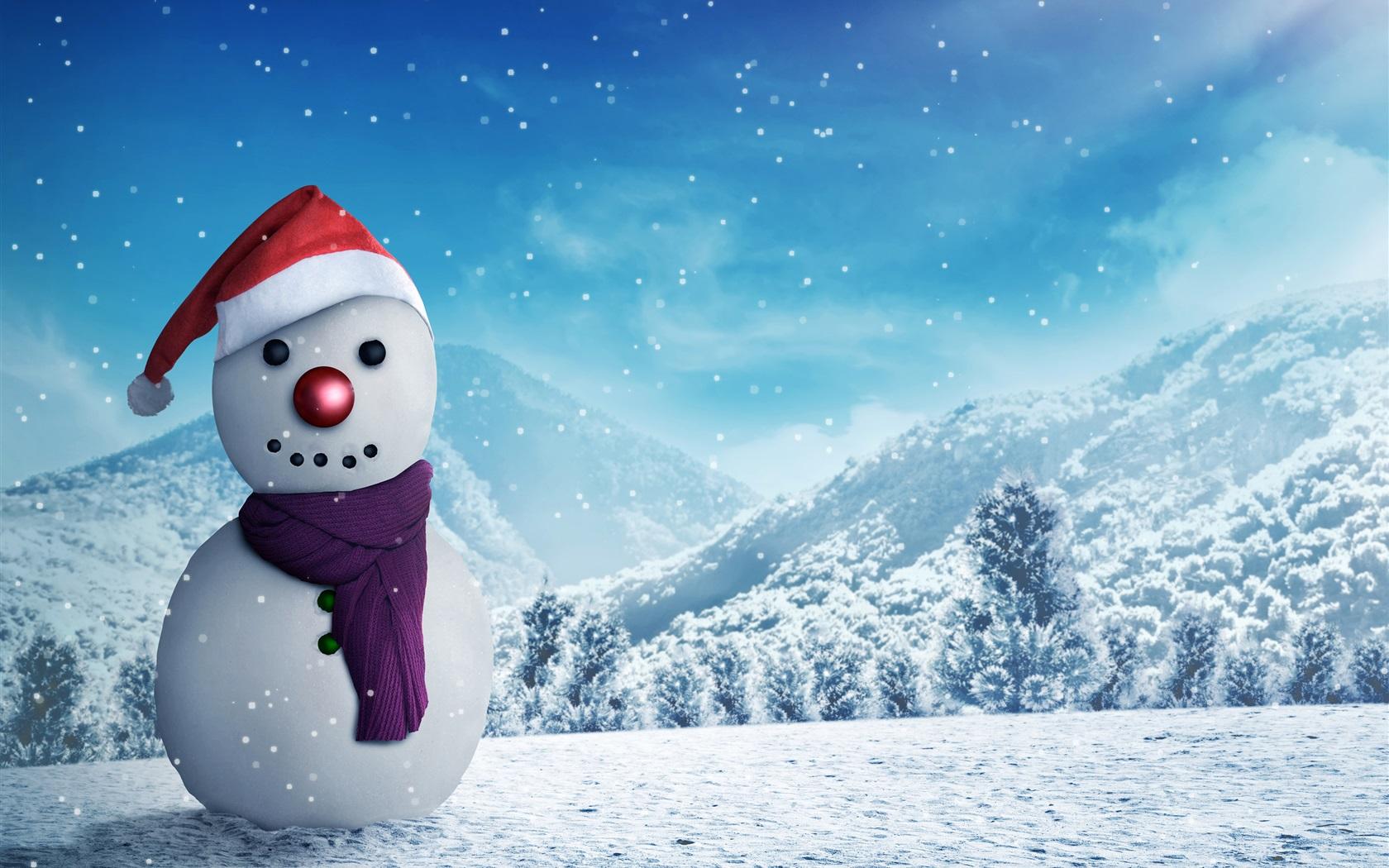 Fonds d'écran Bonhomme de neige, hiver, neige, Nouvel An 3840x2160 UHD 4K image