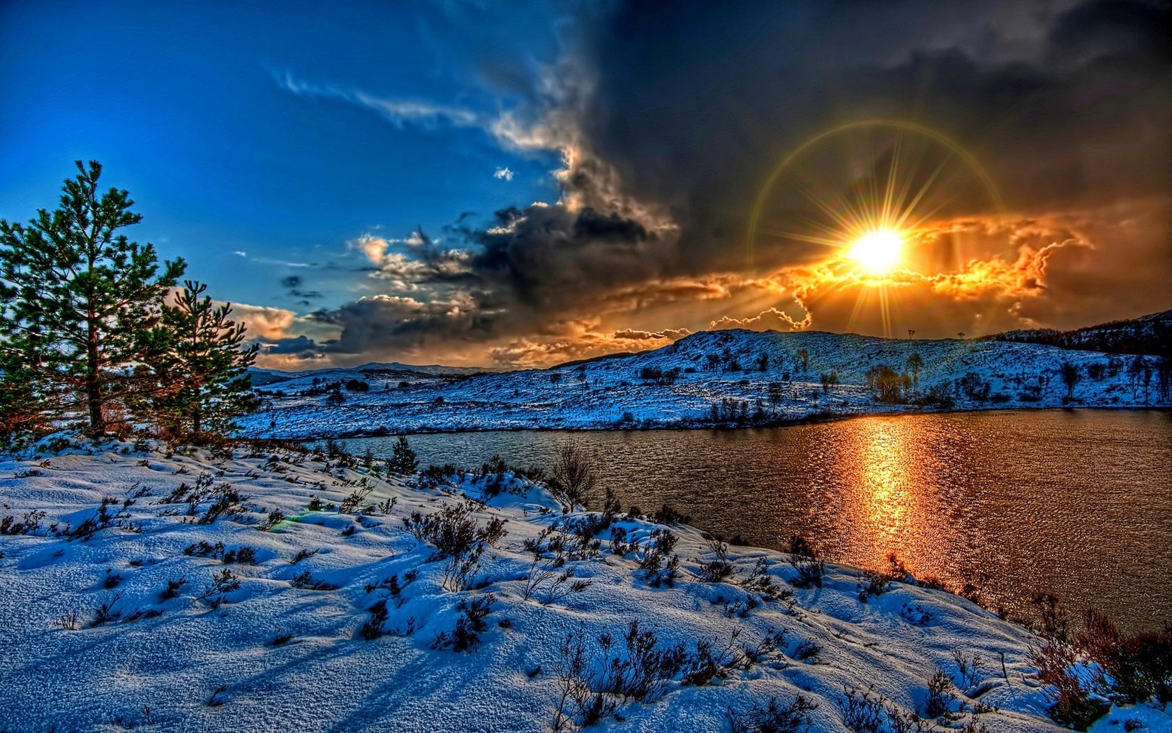 fonds d 39 cran hiver neige lac nuages coucher soleil soleil hdr style 1920x1200 hd image. Black Bedroom Furniture Sets. Home Design Ideas