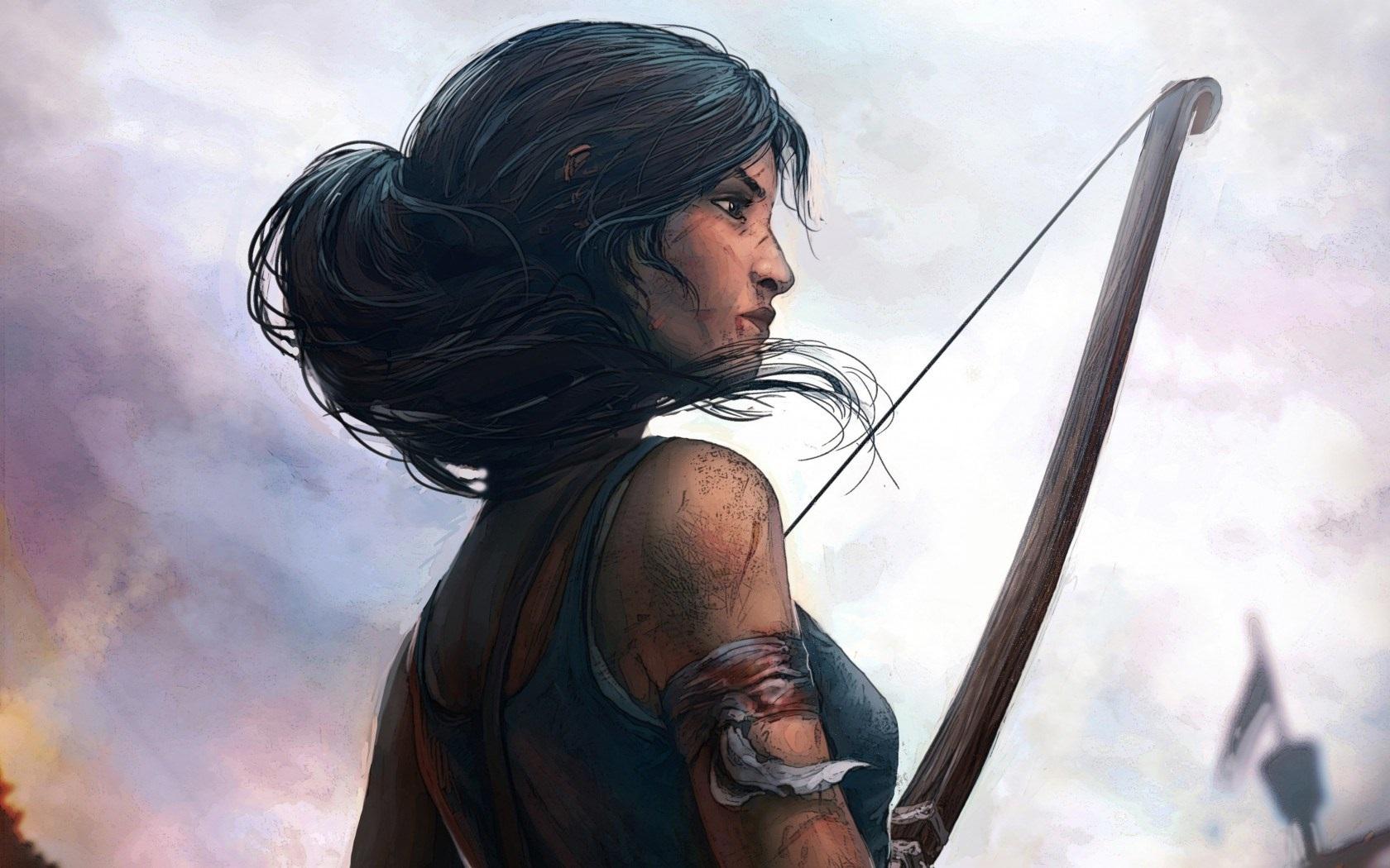 fe54fd6565 Wallpaper Lara Croft, Tomb Raider, bow, art drawing 1680x1050 HD ...