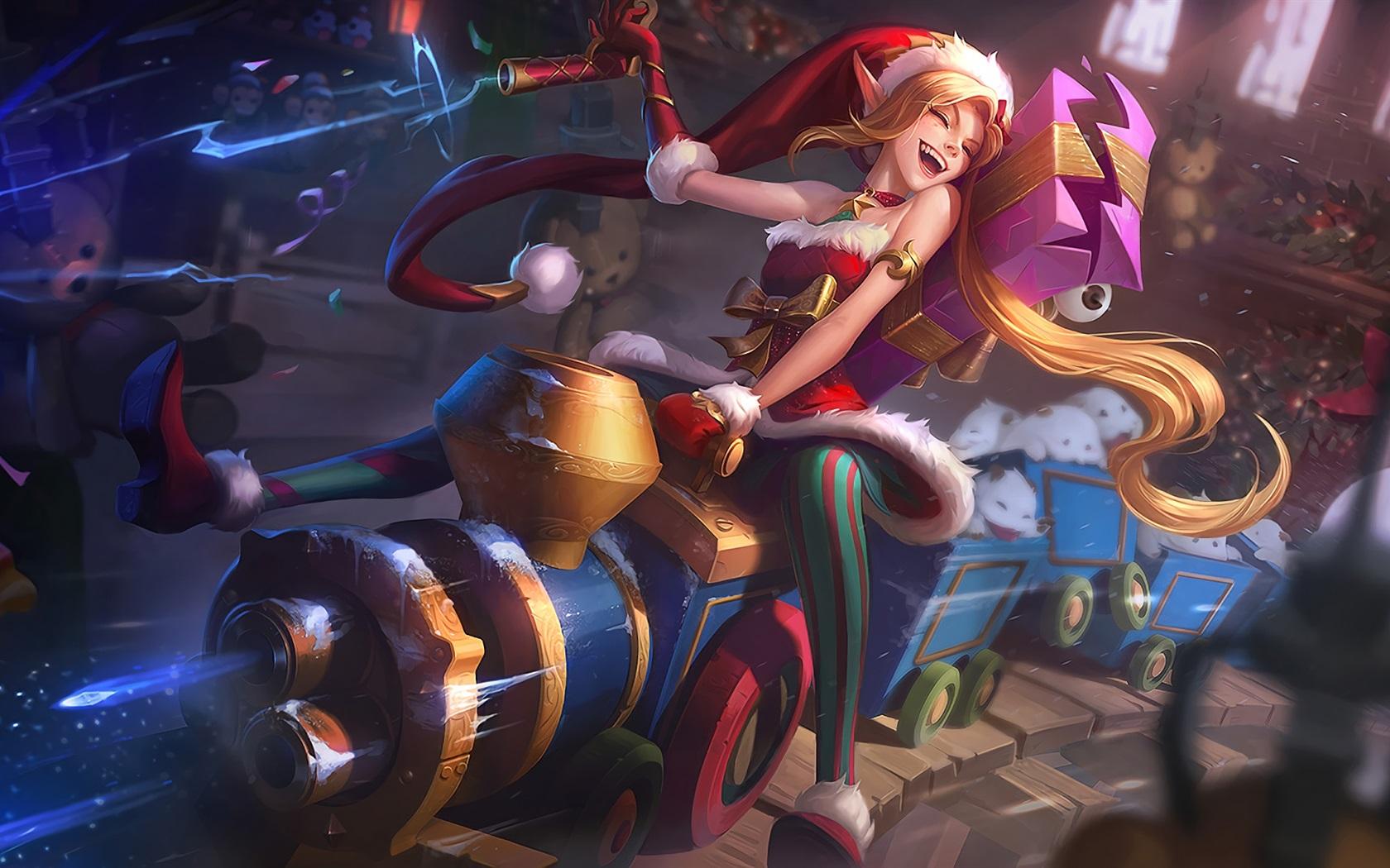 英雄联盟礼物池_英雄联盟,美丽的小精灵女孩,圣诞节,礼物,火车,艺术图片 壁纸