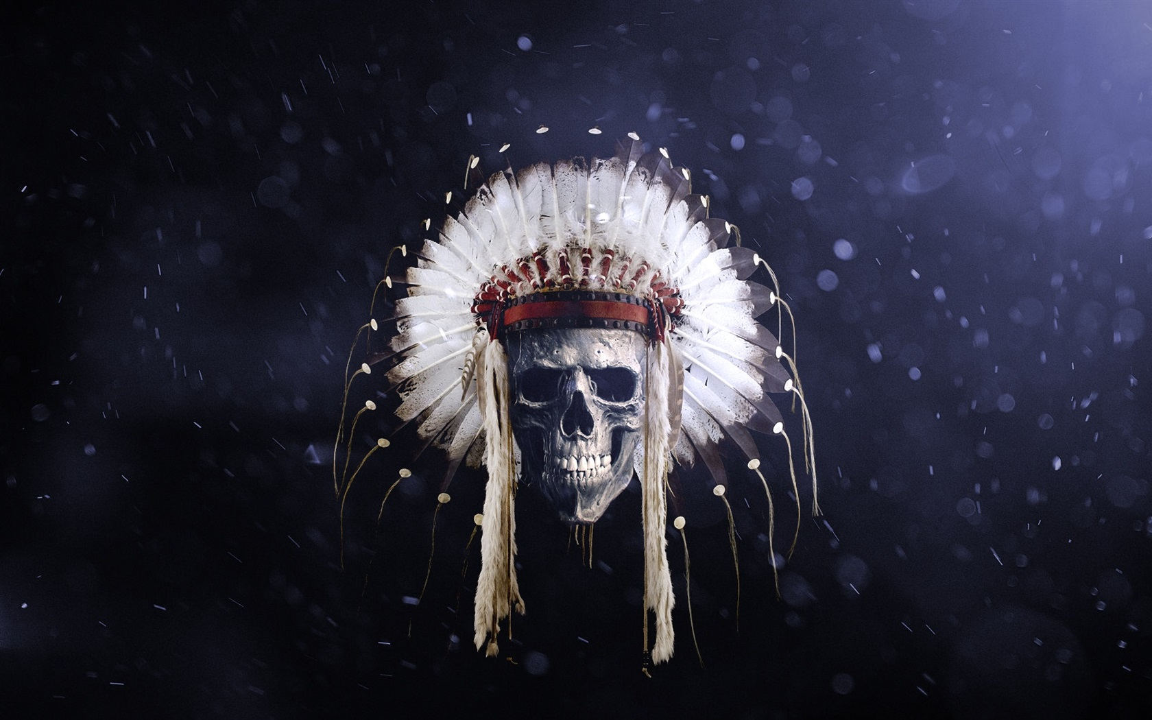 Download Wallpaper 1680x1050 Skull, Indian, feathers ...