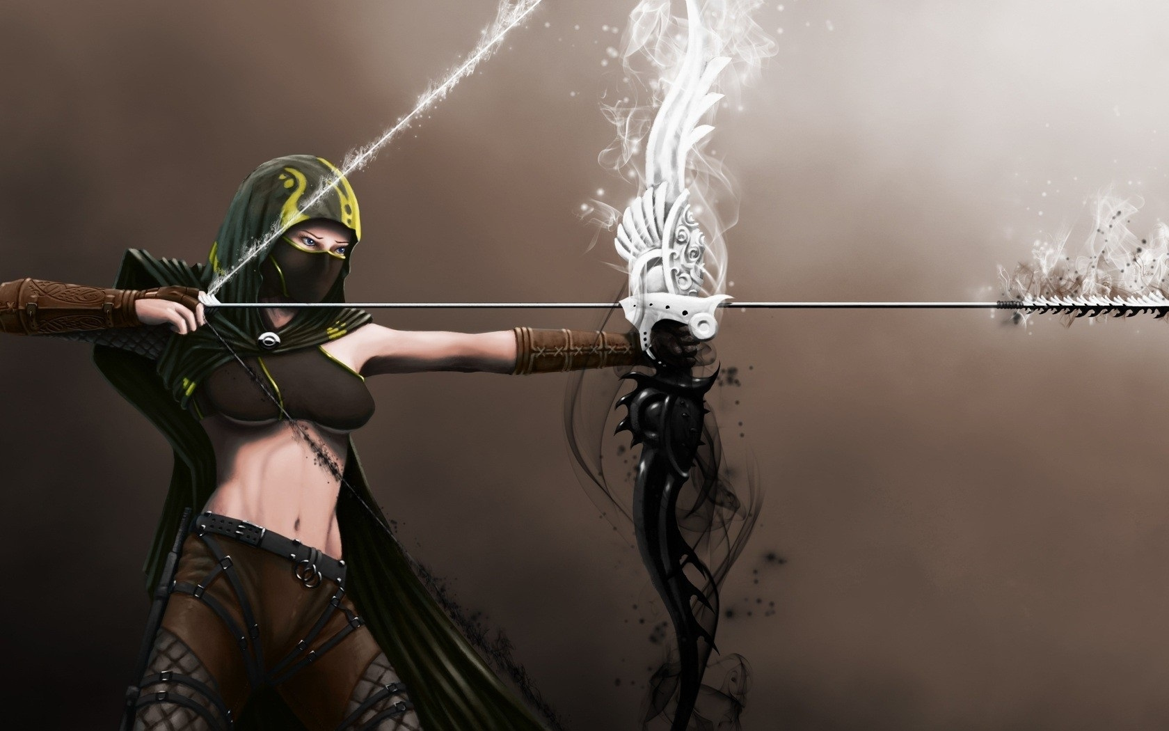 Wallpaper Fantasy Girl Abdomen Bow Archer Mask 1680x1050 HD