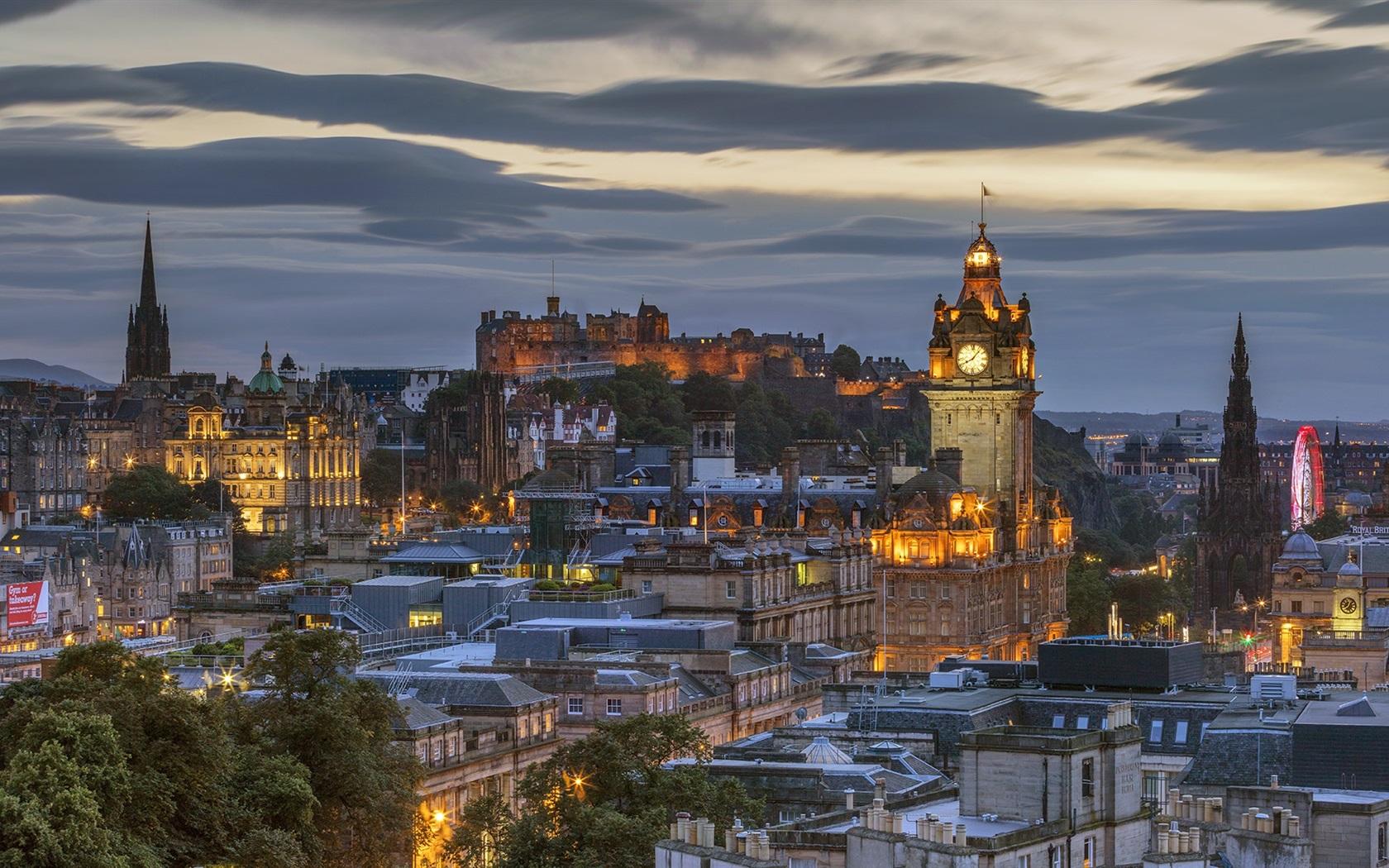Обои Облака, эдинбург, Шотландия, свет, дома. Города foto 9