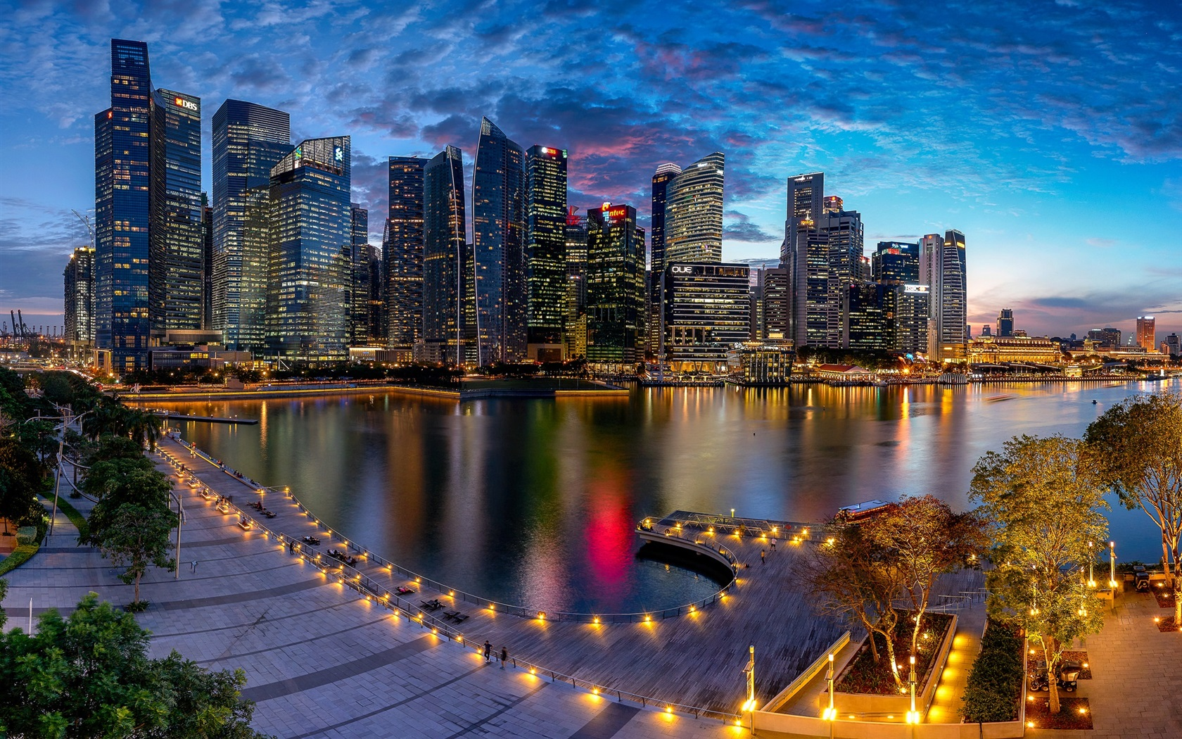 Wallpaper Marina Bay Singapore City Night Lights