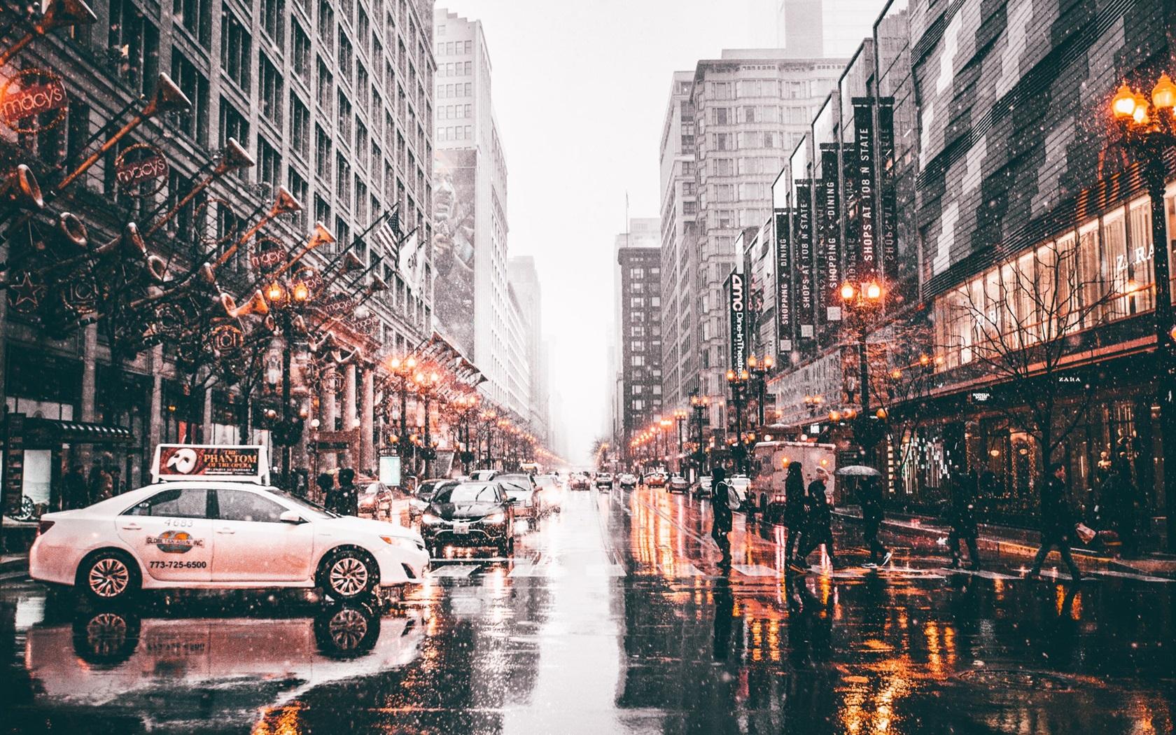 Wallpaper Chicago Usa City Street Snowy Wet Road