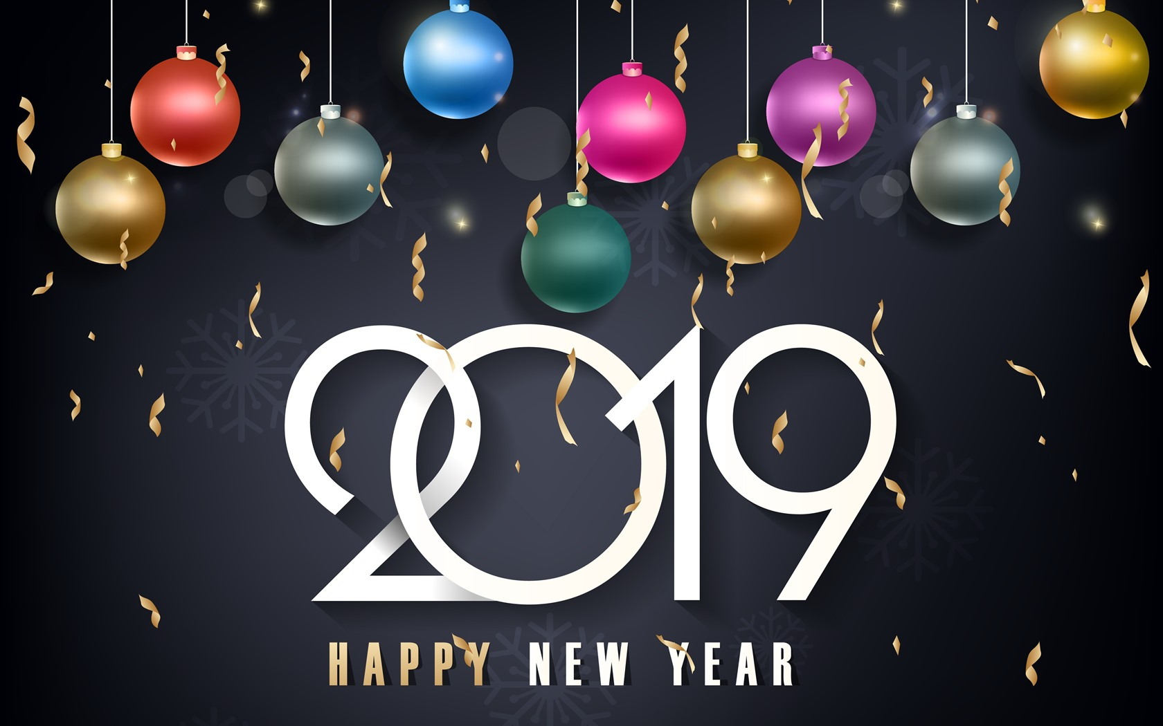 Wallpaper Happy New Year 2019, colorful Christmas balls 3840x2160