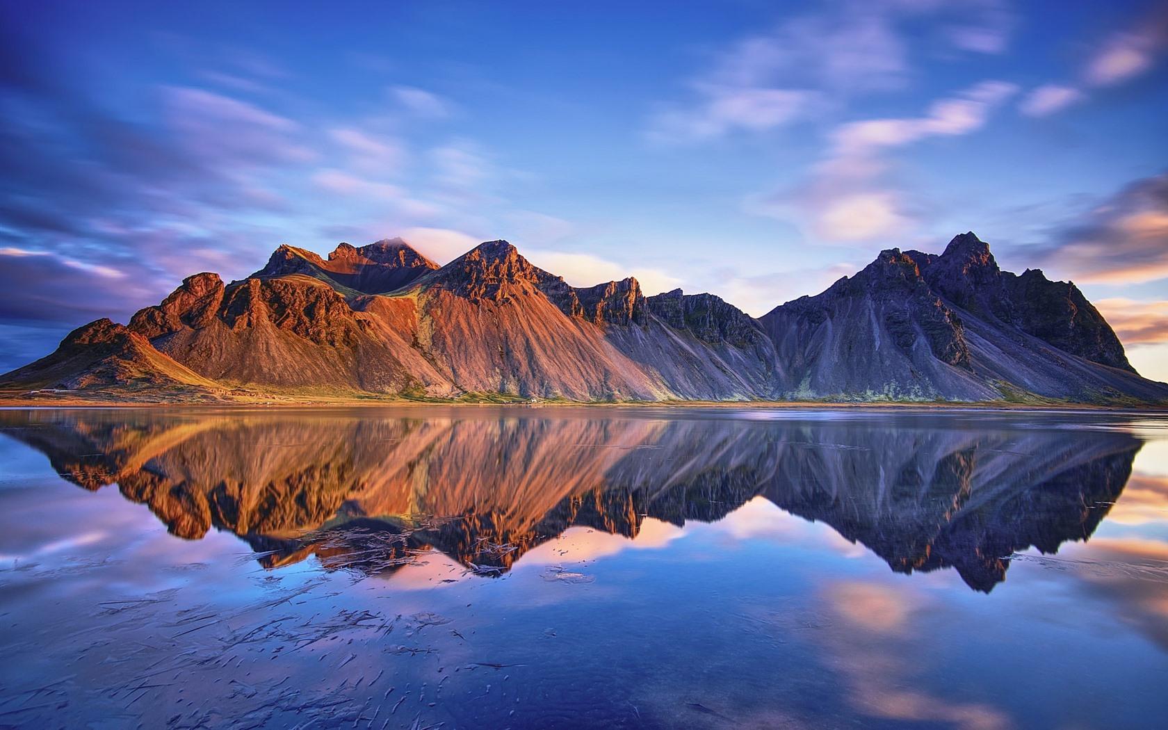 Обои берег, море, Vestrahorn Islande. Природа foto 14