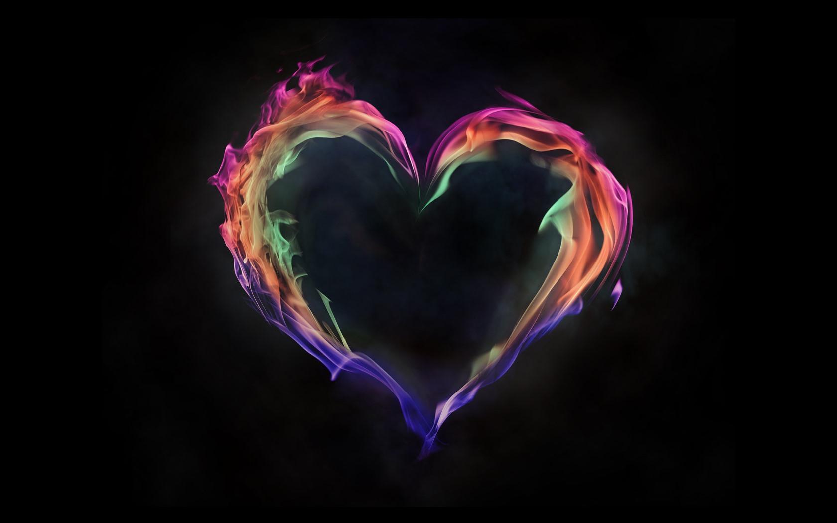 Love Heart Wallpaper Hd Wallpapertag: Buntes Feuerliebesherz, Schwarzer Hintergrund 5120x2880