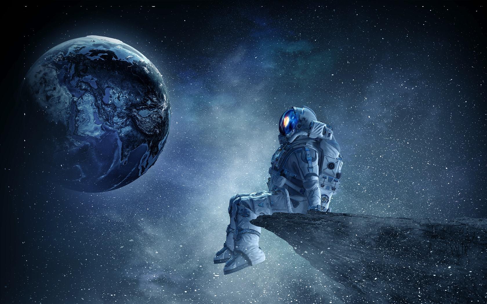 Fondos De Pantalla Astronauta, Planeta, Estrellas, Hermoso