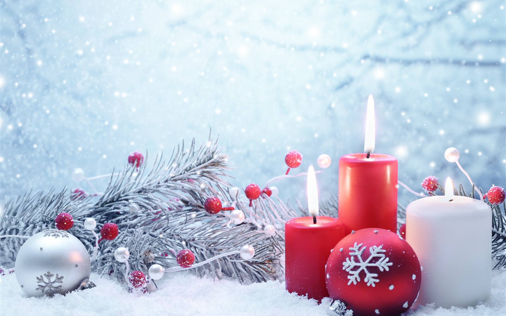 Wallpaper Red And White Candles Flame Snow Christmas