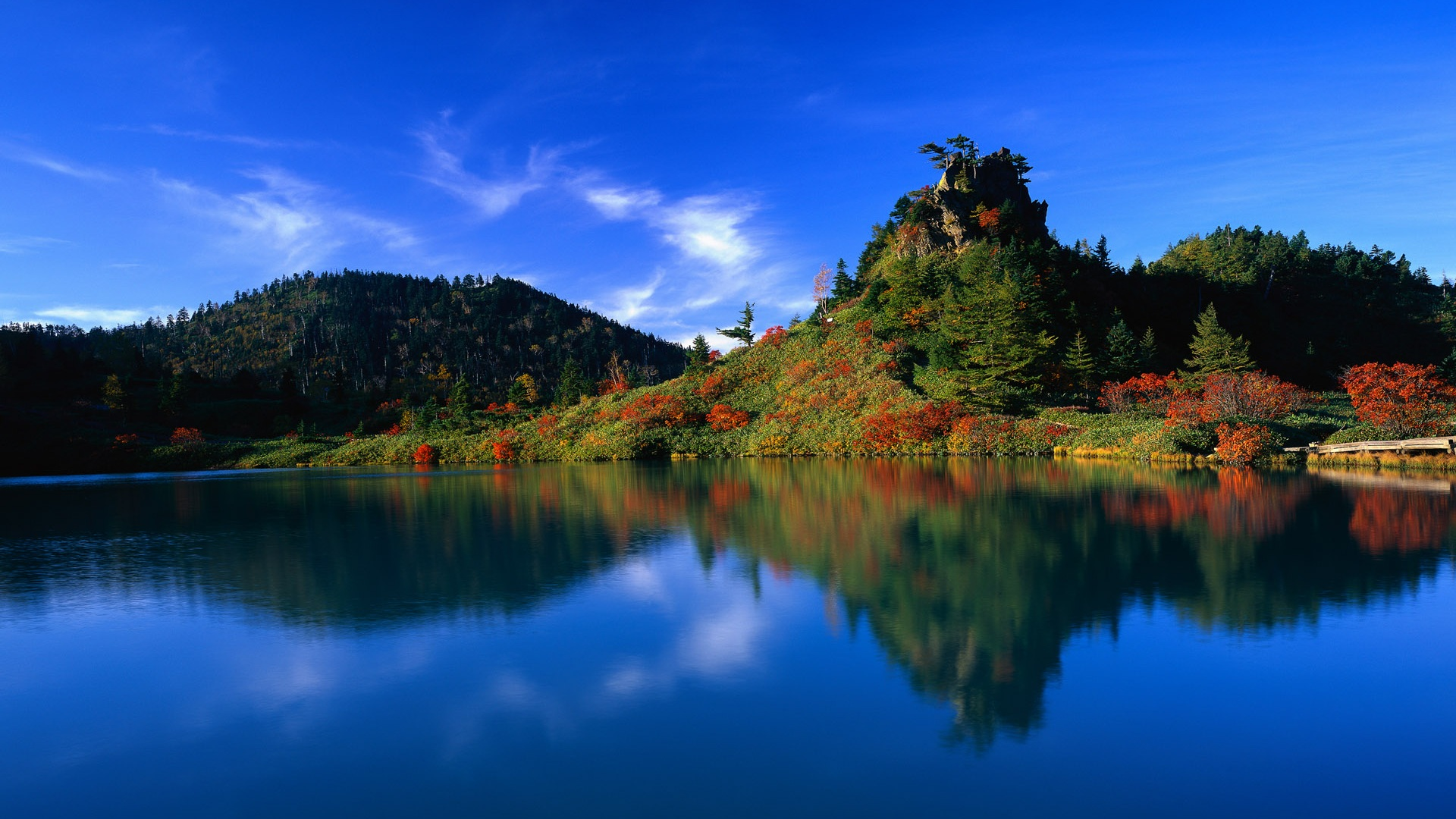 Download Wallpaper 1920x1080 Blue Sky Blue Water Green