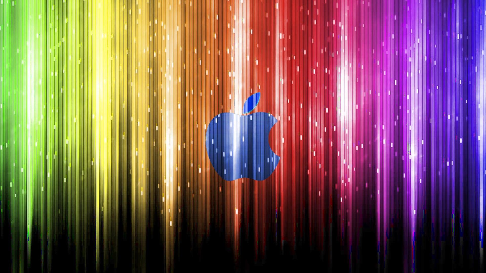 炫彩光束下的蓝苹果 壁纸 - 1920x1080