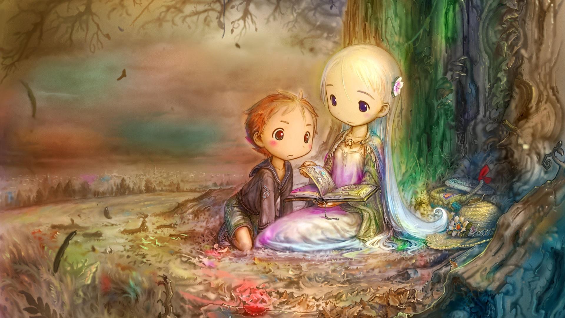 首页 绘画 树下看书的小女孩和小男孩 壁纸 / 1920x1080 全高清 壁纸图片