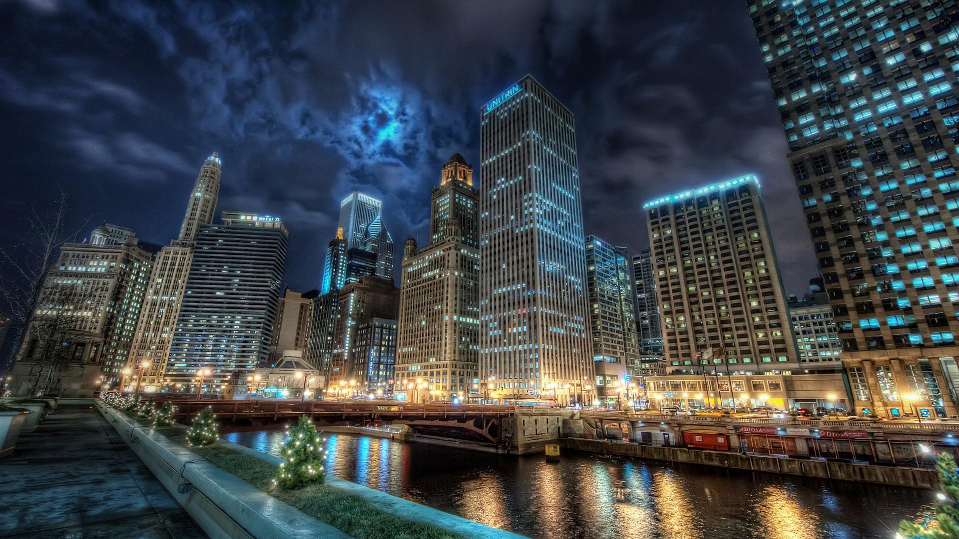 壁紙 シカゴ市内の夜景 2560x1600 Hd 無料のデスクトップの背景 画像