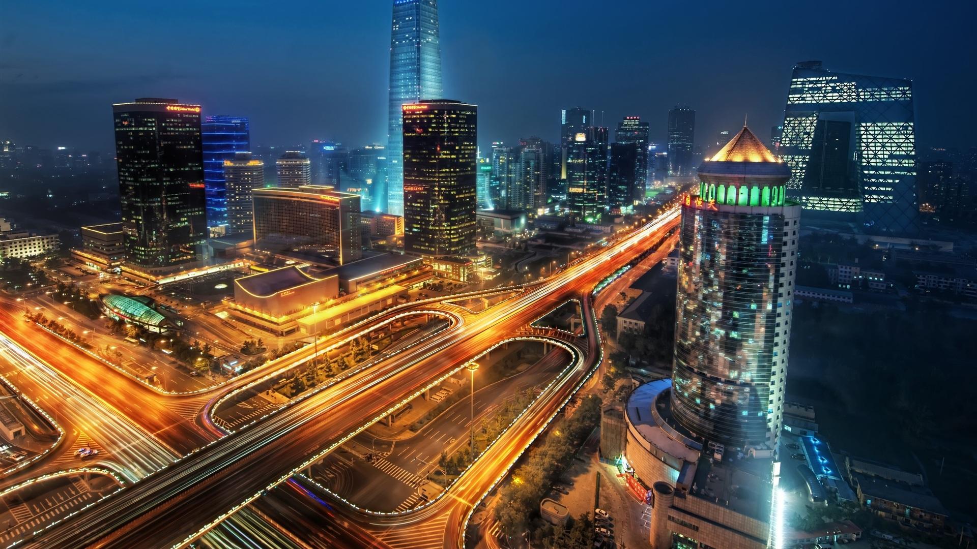 壁纸摩天大楼的夜景灯光2560x1600 Hd 高清壁纸 图片 照片