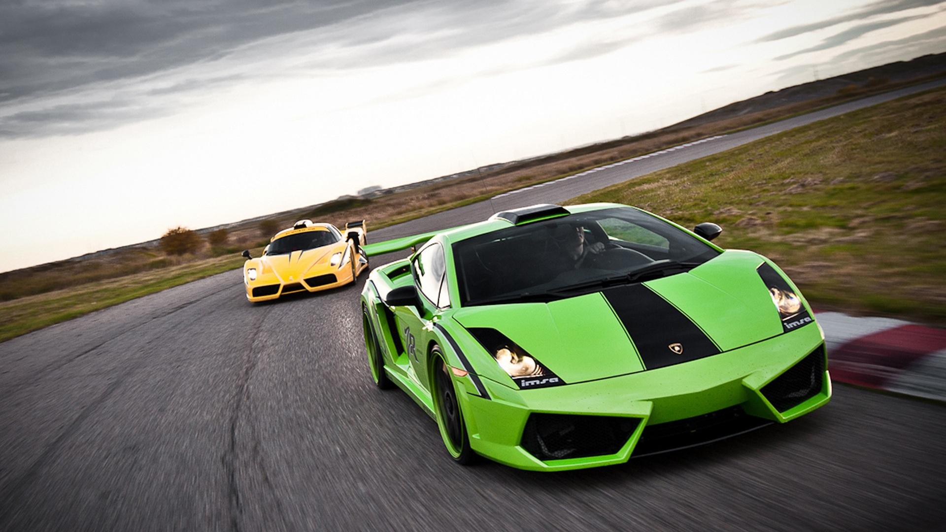 спортивный зеленый автомобиль Lamborghini  № 2996363 бесплатно