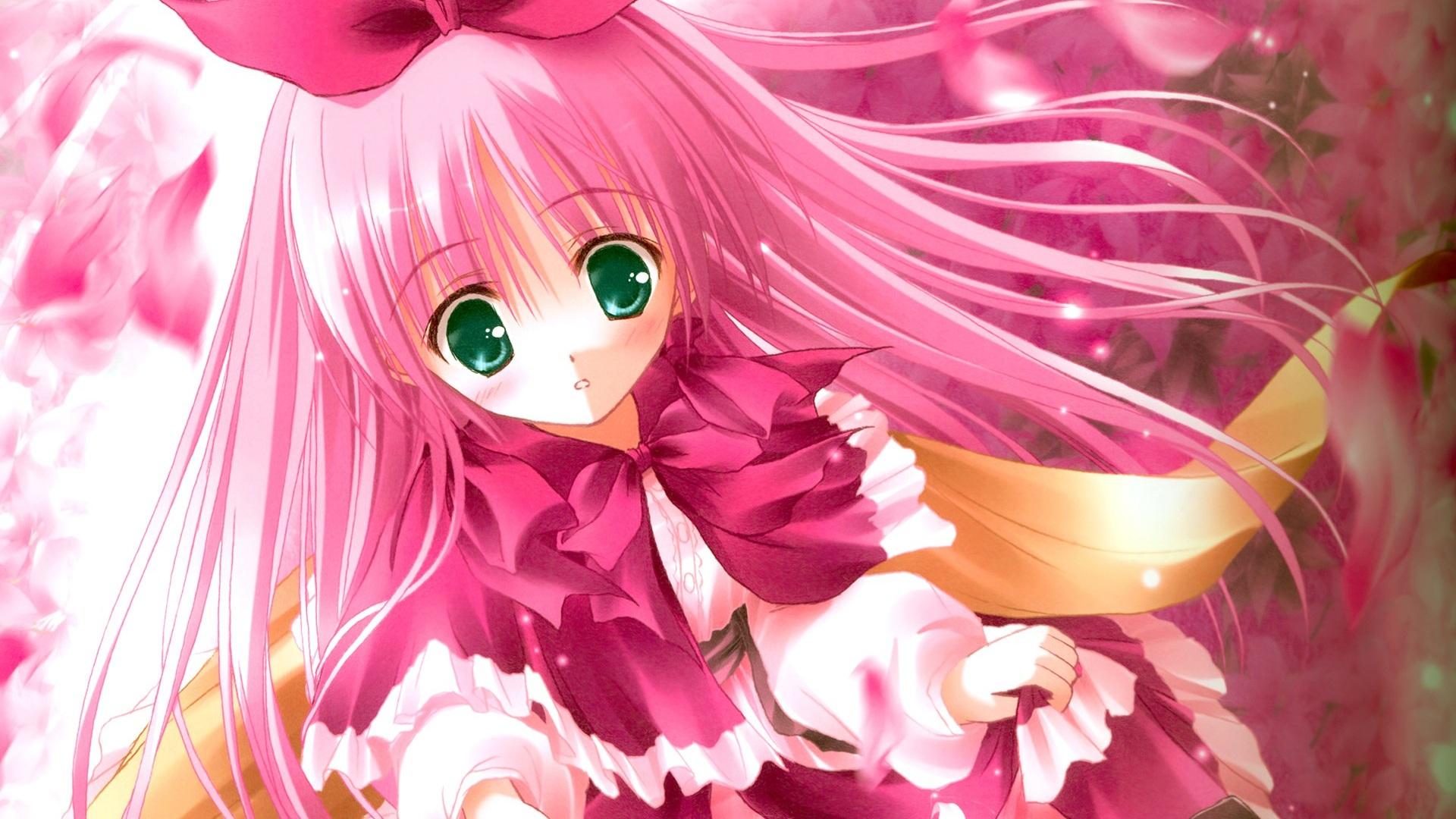 Hd wallpaper pink - Lindo Pelo Rosa Anime Girl Fondos De Pantalla 1920x1080